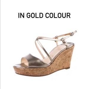 Christian Louboutin gold wedge sandals shoes